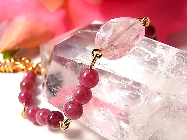 再販!ピンクトルマリンと宝石質ローズクォーツの愛のお守りブレス