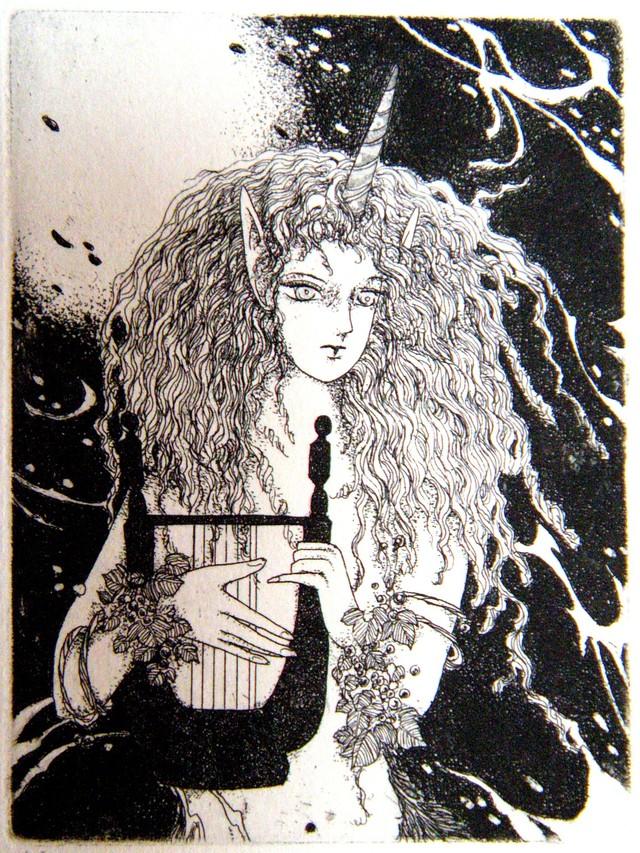 銅版画「一角獣の森で」 ミニプリント