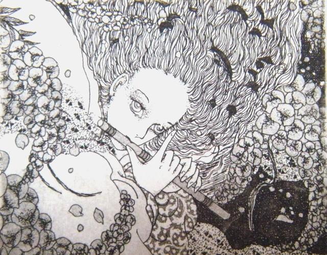 銅版画「ふじ笛」