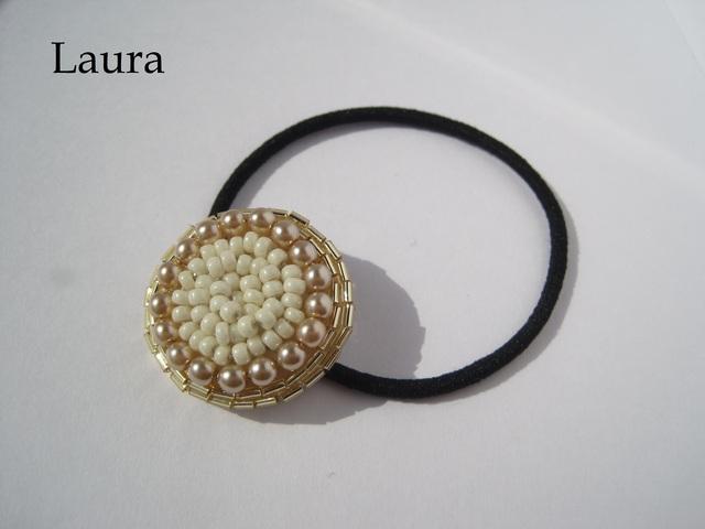 ビーズ刺繍ヘアゴム 白×ゴールド