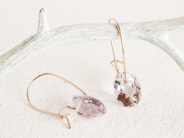 14KGF Brilliant Amethyst Earrings