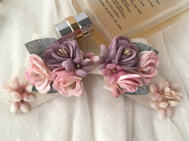 flower ribbon バレッタ 2色の薔薇/スミレ
