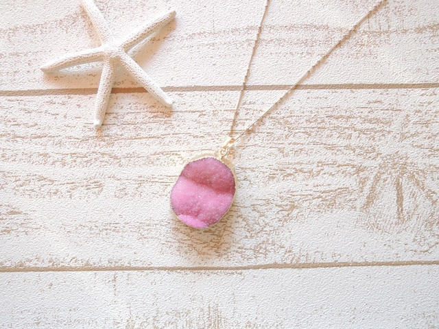Druzy Quartz Necklace Pink