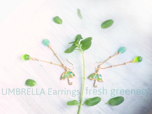 14KGF��?UMBRELLA Earrings *Fresh Greenery*