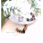 送料無料!shell hoop earring/brown