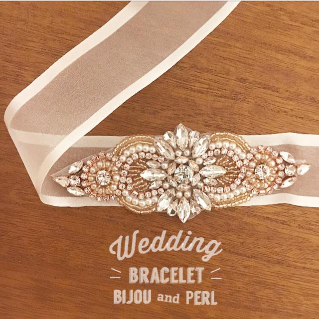 【Beige】ビジューパールブレスレット 結婚式 ウエディング Wedding ドレス サッシュ リボン ブレスレット サッシュベルト ウエディング  ブライダル パール