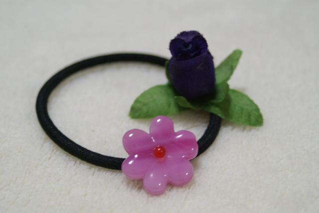 ガラスのヘアゴム花(偶然の産物)