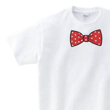 だまし絵 水玉 蝶ネクタイ(リボン)100〜140(キッズ) 150.160(女性M.L) Tシャツ  100〜160サイズ【受注生産品】