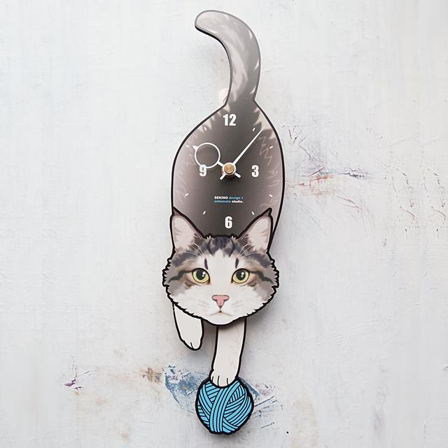 C-50 灰白猫(長毛)-猫の振り子時計