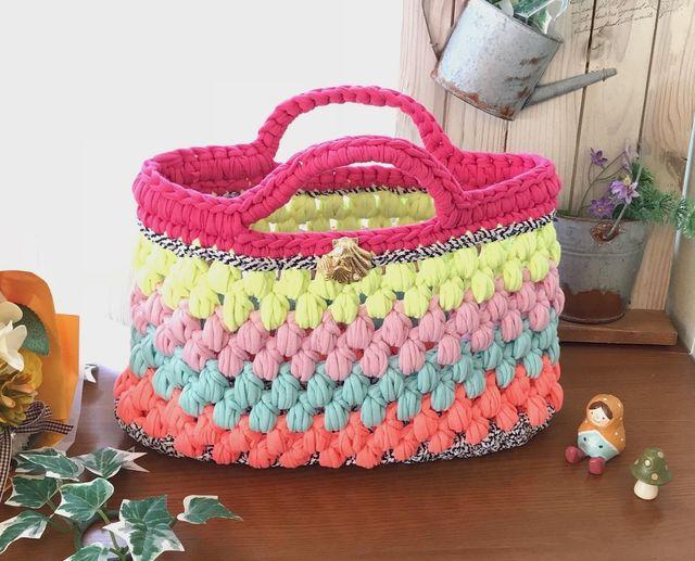 鮮やかな玉編みトートバック☆ズパゲッティ