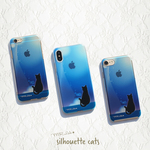 iPhone ケース ブルー シルエット 黒猫 ハードケース iPhoneXS / iPhoneX / iPhone8 / iPhone7 / iPhone6s / iPhone6