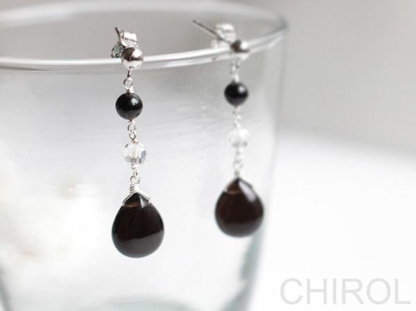 ・・● 黒水晶と水晶のピアス ●・・/...