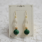 Acryl&glass【marble green】 ピアス/イヤリング