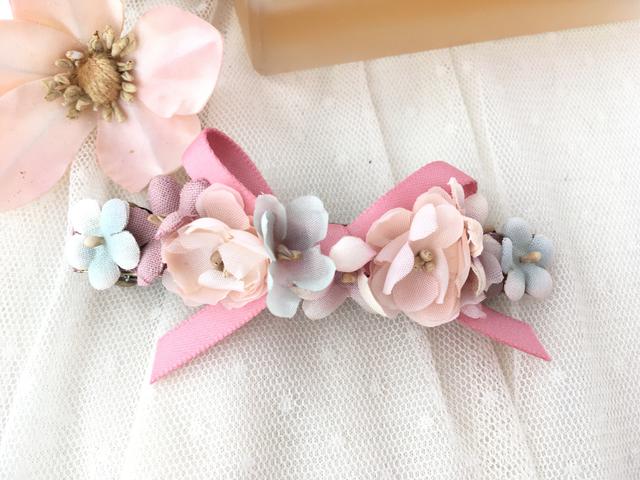 宝石布花バレッタ pink
