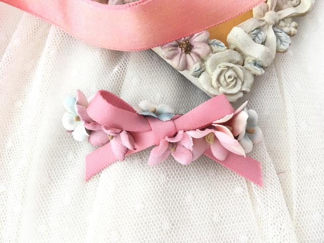 宝石布花プチバレッタ pink