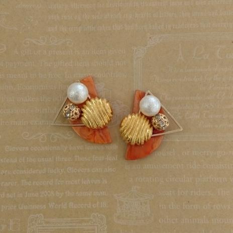 ◆92 半円 オレンジ レトロボタン イヤ...