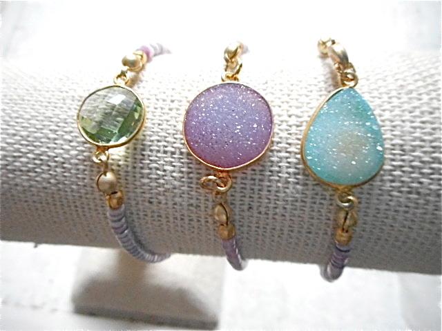 Druzy Beach Bracelet---pink druzy & shell
