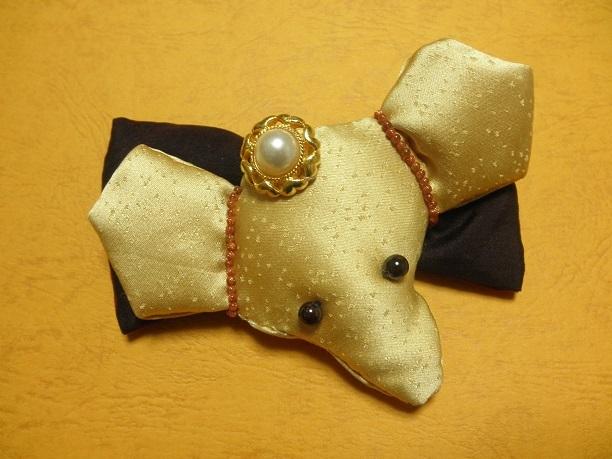 古布&ゴールドバレッタ「幸せのゾウ」