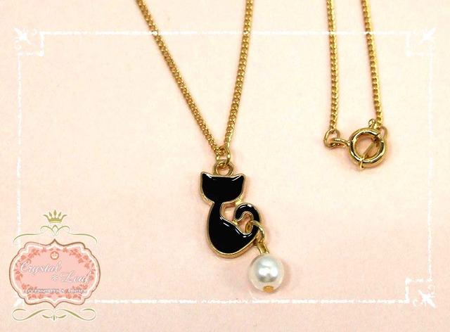 くるりんしっぽミニ猫ネックレス*ホワイト*ブラック*ピンク*