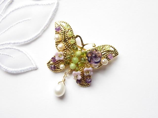 アンティークジュエリー風 蝶のブローチ2