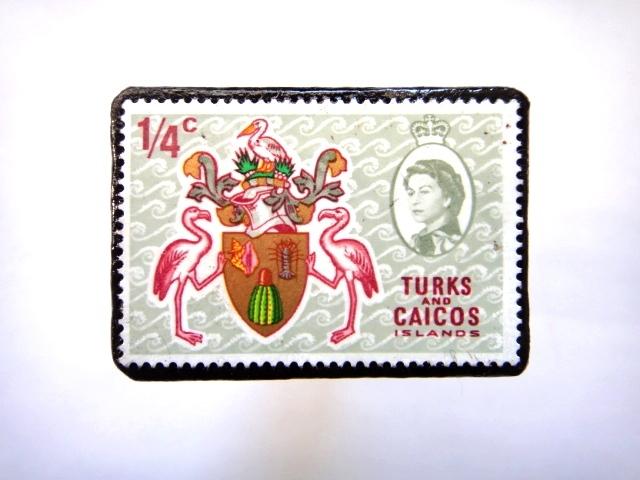 タークス・カイコス諸島 切手ブローチ717