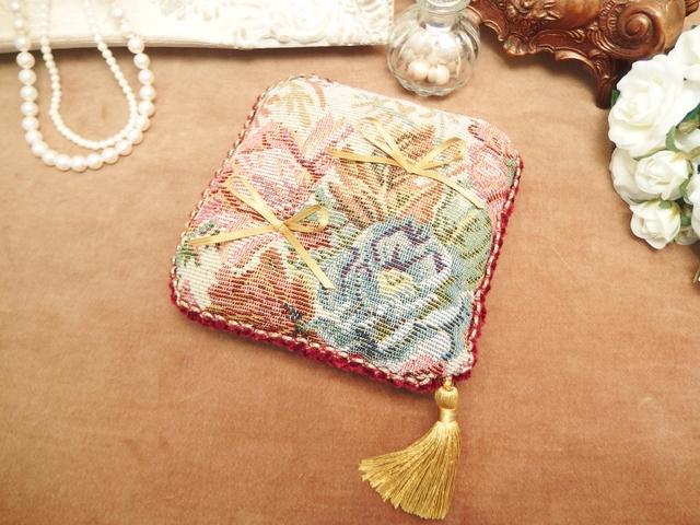 【お値下げ】ゴブラン織りのリングピロー(正方形タイプ)