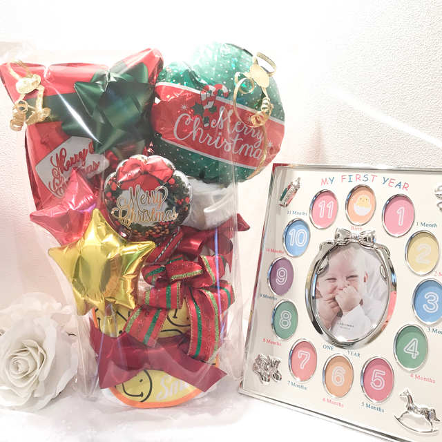 限定クリスマスプレゼント■出産祝いバルーンおむつケーキ■スマイルスタイ12ヶ月フレーム付き