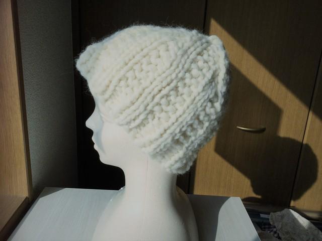 超極太毛糸のざっくり帽子