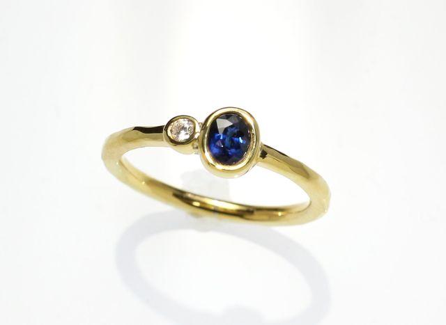 K18YG ブルーサファイア&ダイヤモンド...