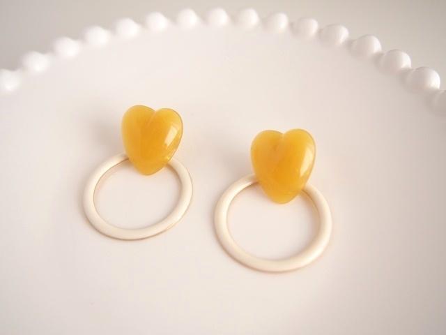 heart ring ピアス(white)