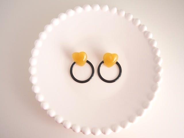 heart ring ピアス(black)