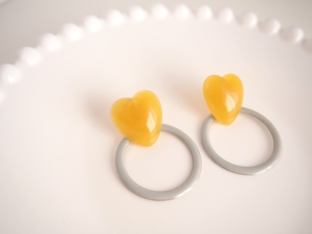 heart ring ピアス(gray)