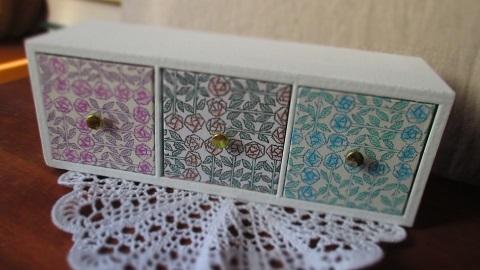リバティ引き出し木製飾り棚白/Sleepingrose