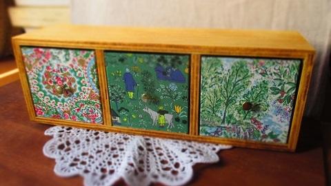 リバティ引き出し木製飾り棚/グリーン系