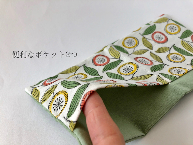 outlet♡ポケット付♡admi print使用 ボックスティッシュケース 黄緑