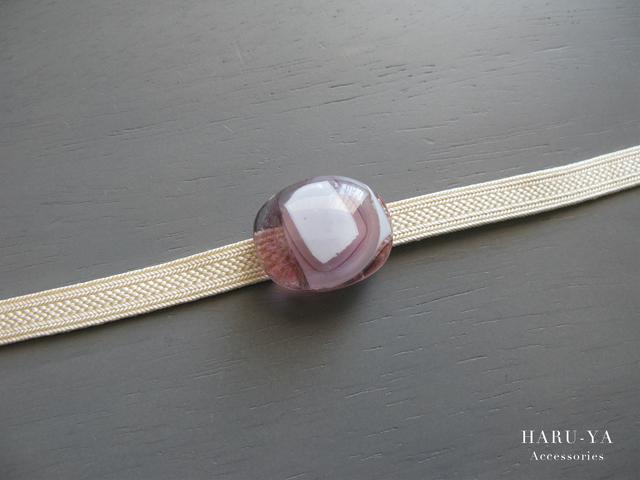 帯留め ガラス*淡紫×白 重ね  ヘア...