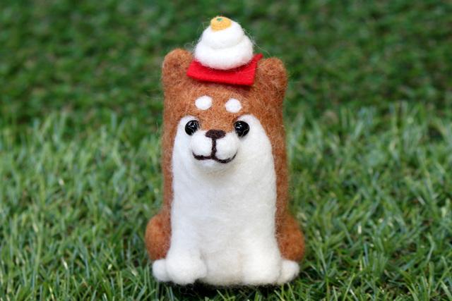 柴犬とミニ鏡餅【赤茶/お正月】