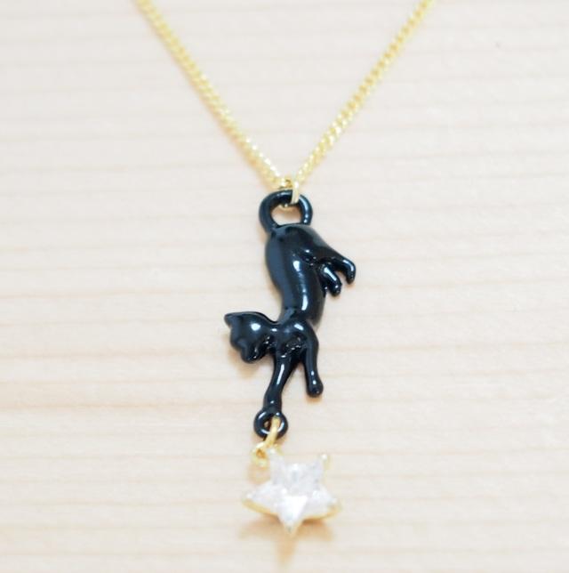 プレゼントに猫と星のネックレス