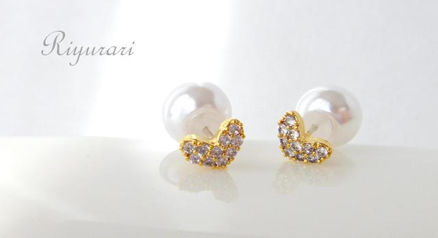 Tiny heart CZ pierce(パールキャッチ)