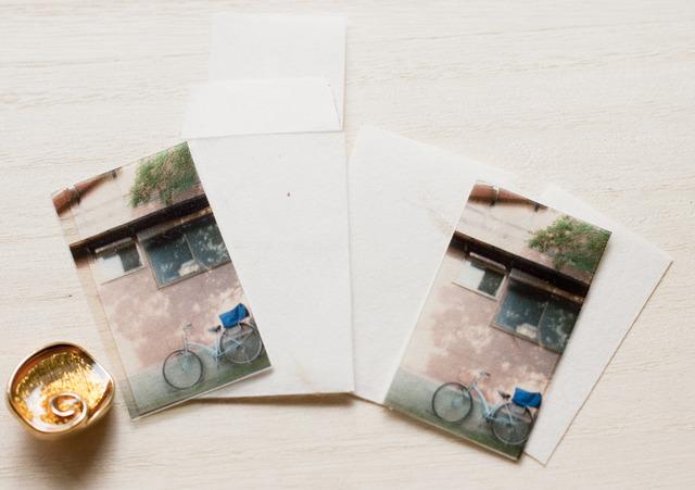 手すき和紙ミニミニレター*自転車