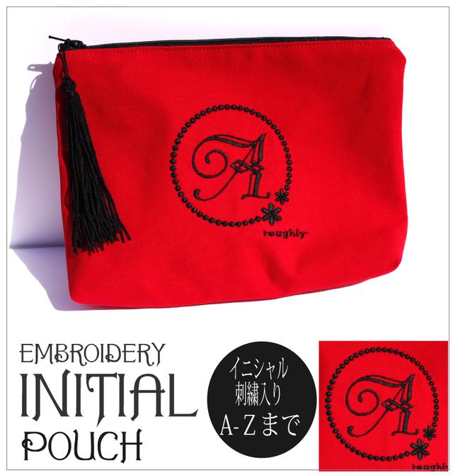 【ポーチ】文字が選べる!イニシャル刺繍化粧ポーチ通販 赤 タッセル付き プレゼントに!プチオーダー