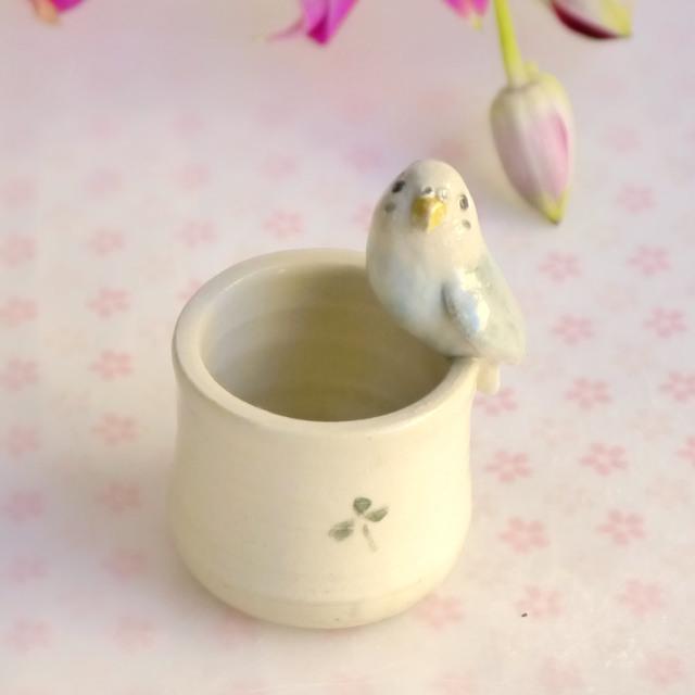 小鳥のはんこたて 水色のセキセイイン...
