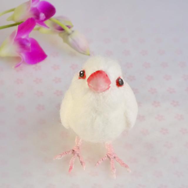 白文鳥(羊毛フェルトの小鳥)
