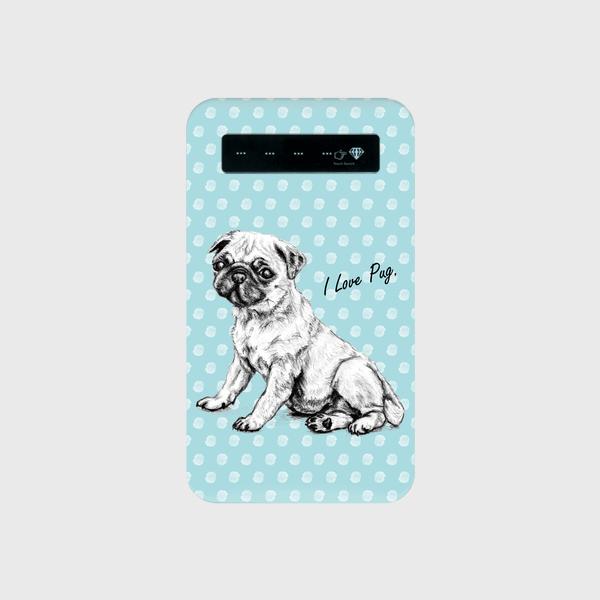 モバイルバッテリー I Love Pug 水色
