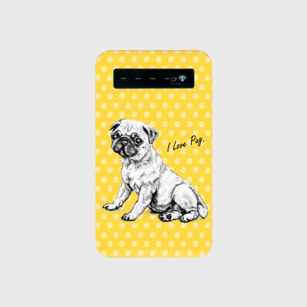 モバイルバッテリー I Love Pug 黄色