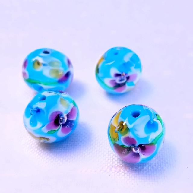 トンボ玉(水色)4個セット