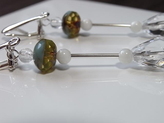 【silver925】水晶とチェコビーズのイヤ...