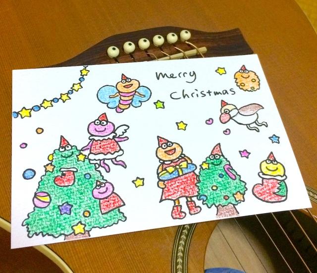手描きクリスマスカード 色鉛筆 シナモン文鳥も ハンドメイドマーケット Minne