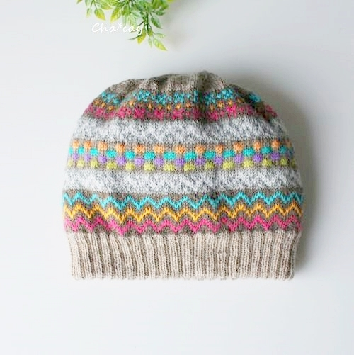 二重で暖かい手編みフェアアイル柄ニット帽