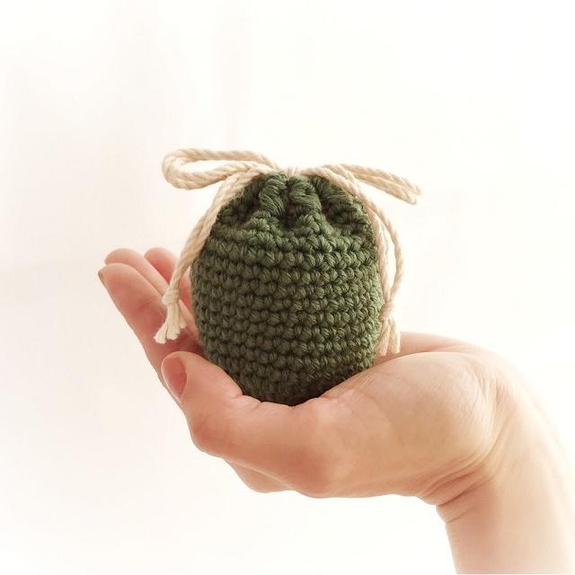 冬糸ころんと巾着*グリーン